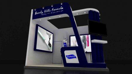 دانلود فایل تریدی مکس با صحنه آماده رندر نور و متریال و آبجکت برای غرفه نمایشگاهی